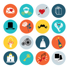 Flat wedding icons set for web and mobile