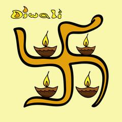 Happy Diwali stylish swastik or artistic diya Indian festival de