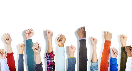 Multiethnic Group of Fists on white Background