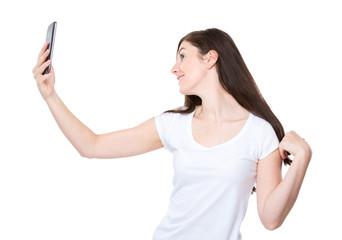 Woman talk selfie