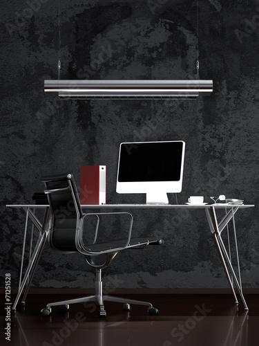 schreibtisch vor abstraktem wandanstrich stockfotos und lizenzfreie bilder auf. Black Bedroom Furniture Sets. Home Design Ideas