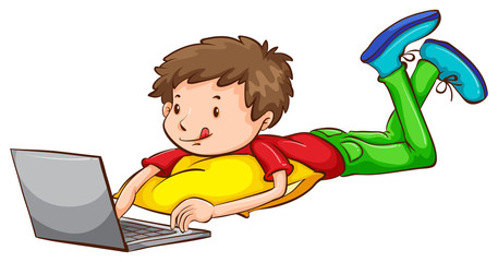 A coloured sketch of a boy using a laptop