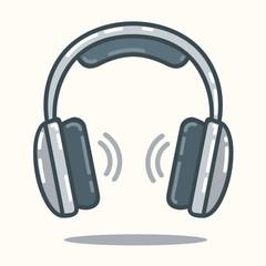 Headphones in flat style