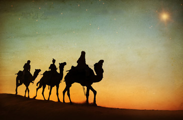 Group of People Riding Camel in Desert