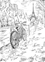 Street in autumn Paris. Eiffel tower -sketch illustration