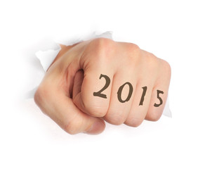 Hand with 2015 tattoo