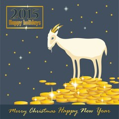 goat on a mountain of coins with golden horns holiday card