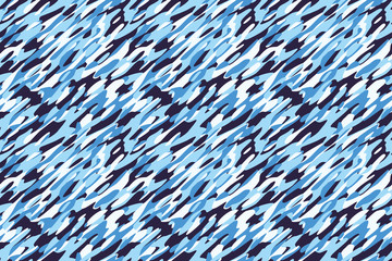 Camouflage Winter Snow White Blue Background