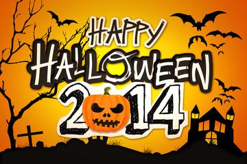 Happy Halloween 2014 Orange Pumpkin Night Graveyard