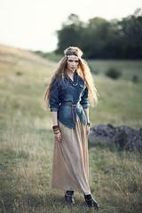 Beautiful hippie girl on nature
