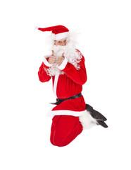 Santa Claus jumping with thumb up sign