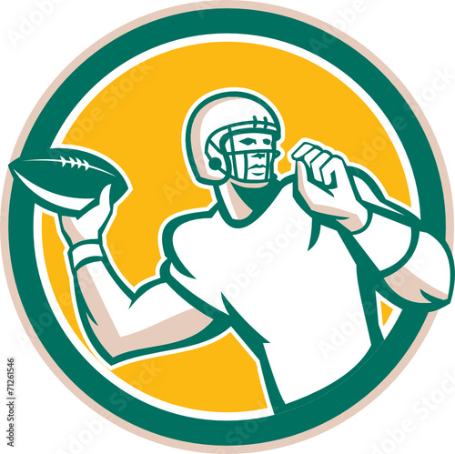 American Football Qb Throwing Circle Retro Stock Image And