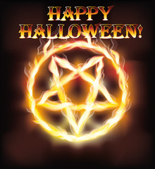 Fire happy halloween pentagram, vector illustration
