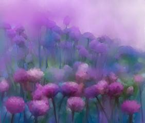 Purple onion flowers oil painting