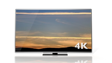 4K symbol and display with sunset sky isolated