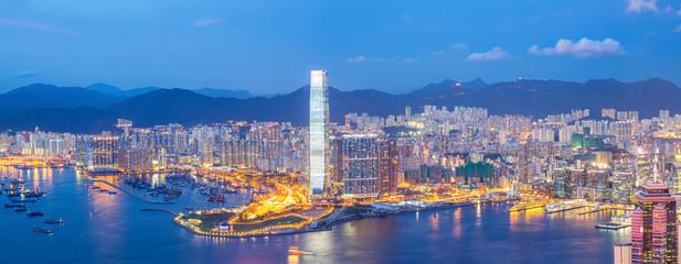 Foto op Plexiglas Hong-Kong Panorama Hong Kong Skyline