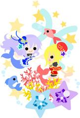 星占いの魚座をイメージしたイラスト