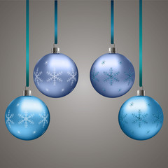 Blue Christmas balls with snowflakes