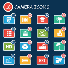 Camera icon set,clean vector