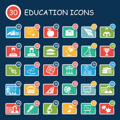 Education,student and learning icons,clean vector
