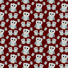 Gray Owls on Red Textured Fabric Repeat Pattern Background