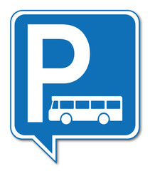 Logo parking bus, car, autocar.