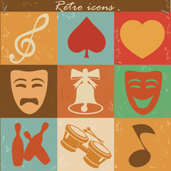 Entertainment icons,retro vector