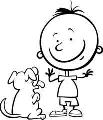 boy with dog cartoon coloring page
