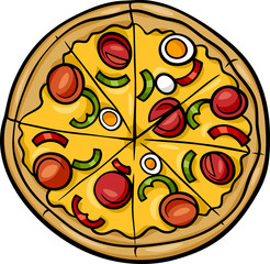italian pizza cartoon illustration