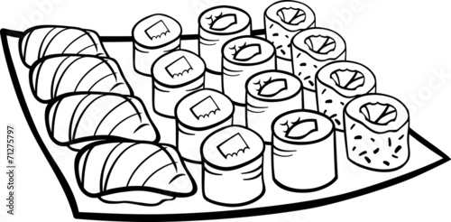 sushi coloring pages sushi lunch cartoon coloring page