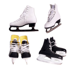 Figure skates and pair hockey skates
