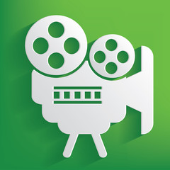 Movie symbol on green background,clean vector