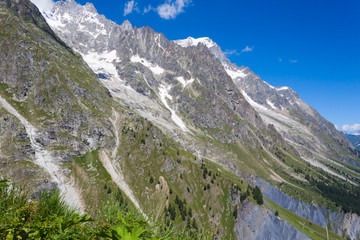 Slopes of Mount Blanc Massif - Summer Mountain