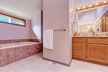 Bathroom interior in light pink tone
