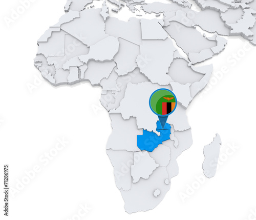 Zambia on a map of Africa\
