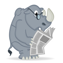 rhino reading newspaper - vector  illustration, eps