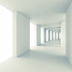Abstract architecture 3d background, empty white corridor