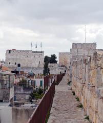 Walk Along Walls of Ancient City, Jerusalem, Israel
