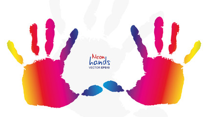 Detail imprint of colored hands, vector illustration on white
