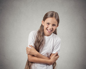 Portrait girl laughing isolated on white background