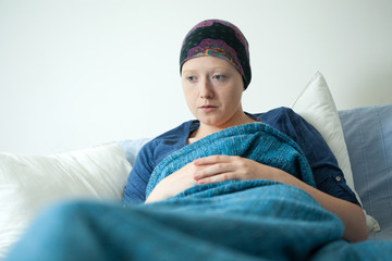 Young woman having carcinoma