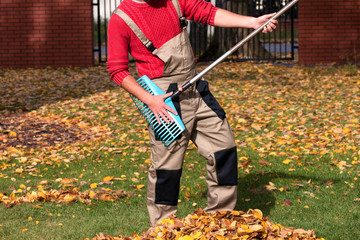 Gardener having fun during autumn time