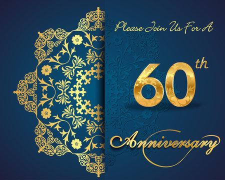 60 year anniversary golden label, 60th anniversary card