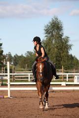 Brunette woman riding chestnut horse