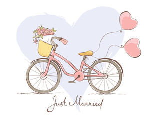 Wedding card - a bicycle for the bride
