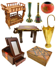 Set with various ethnic interior objects isolated