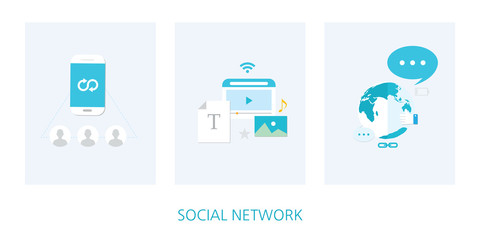 social network concept icon set