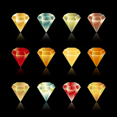 Shiny and bright  star, rounded , hexagon  gem set in vector