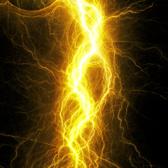 Hot yellow lightning, electrical background