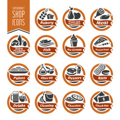Supermarket Shelf Icon Set